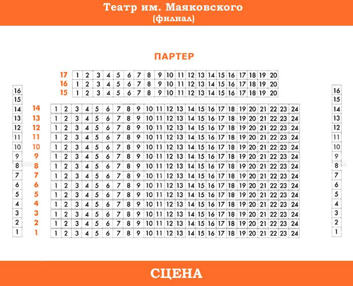 Схема зала: Маяковского Театр (Филиал) .