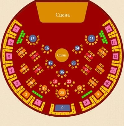 """Цирк-театр  """"Базиллиум """": схемы залов.  Адрес: Москва, м. ВДНХ, ВВЦ, между павильонами 64 и 66, за фонтаном  """"Дружба..."""